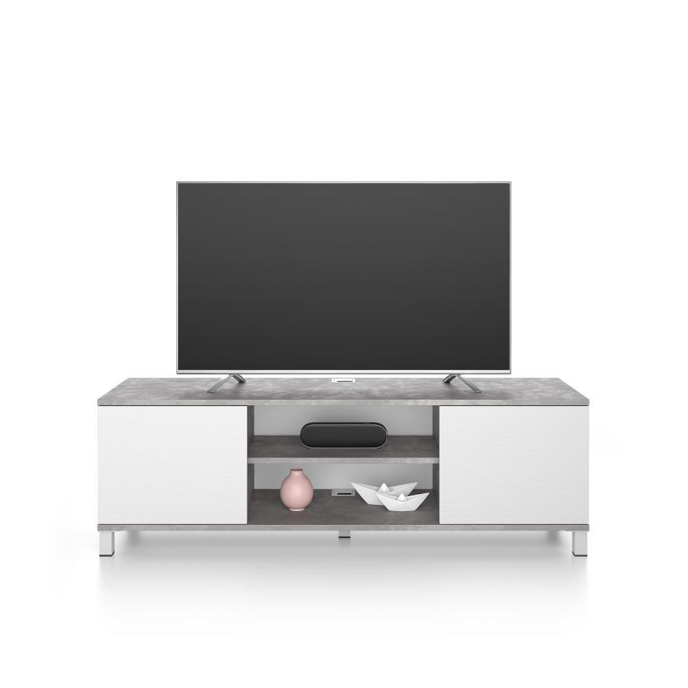 meuble tv rachele gris beton frene blanc