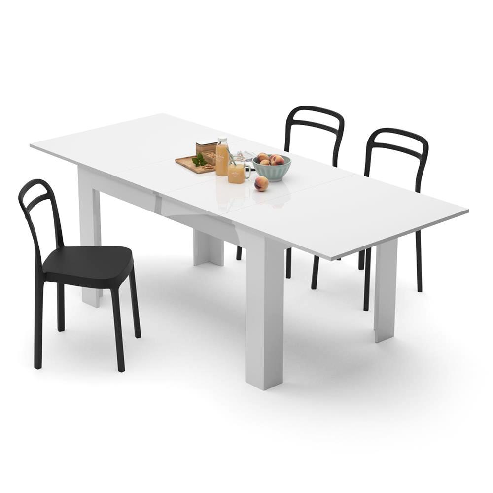 table extensible cuisine easy blanc laque brillant