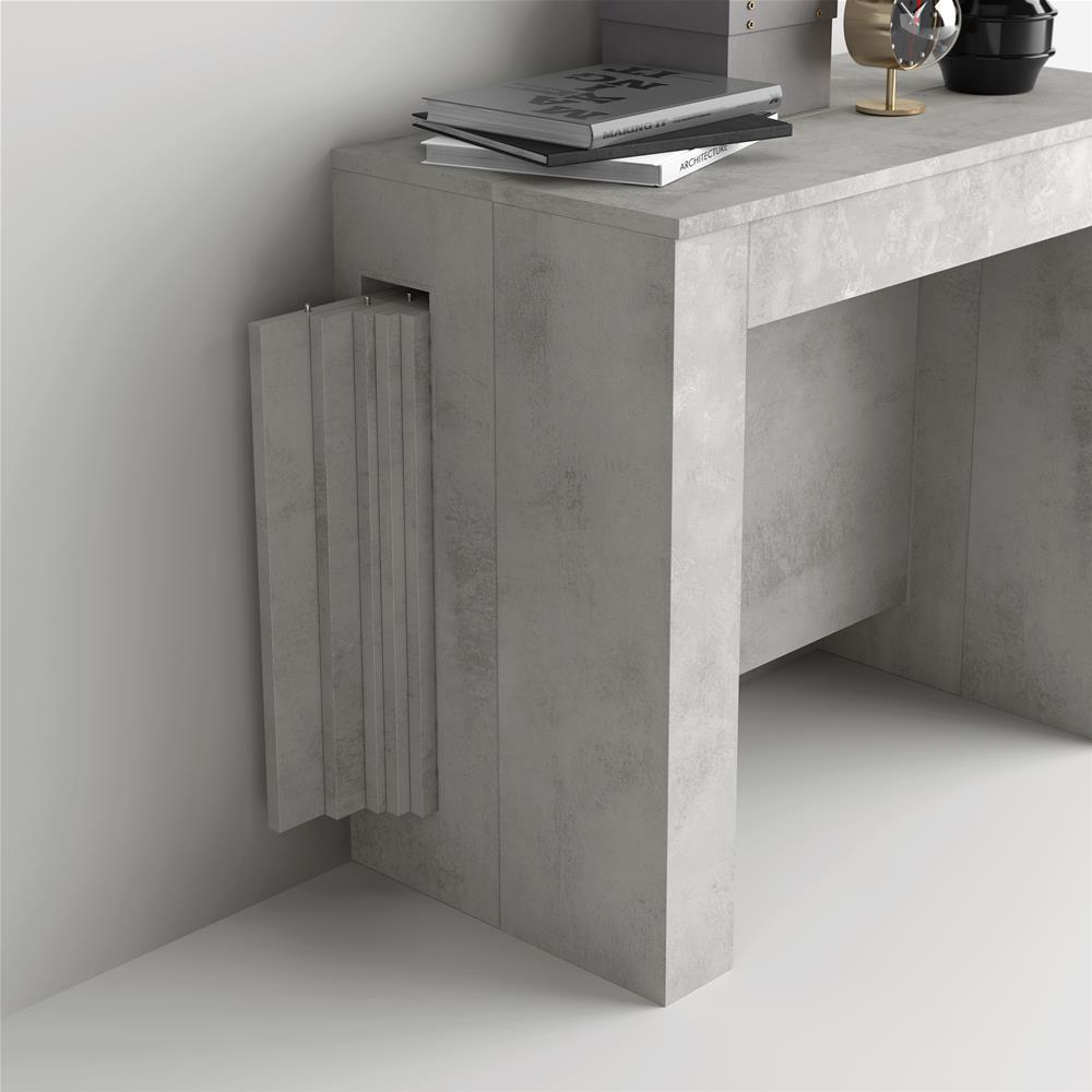 table console extensible avec rallonges integrees easy gris beton