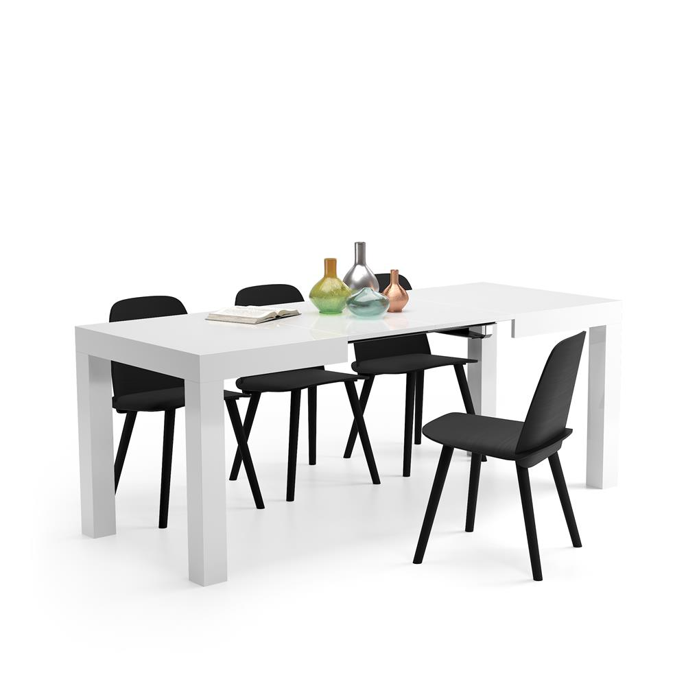 table a manger extensible first blanc laque brillant