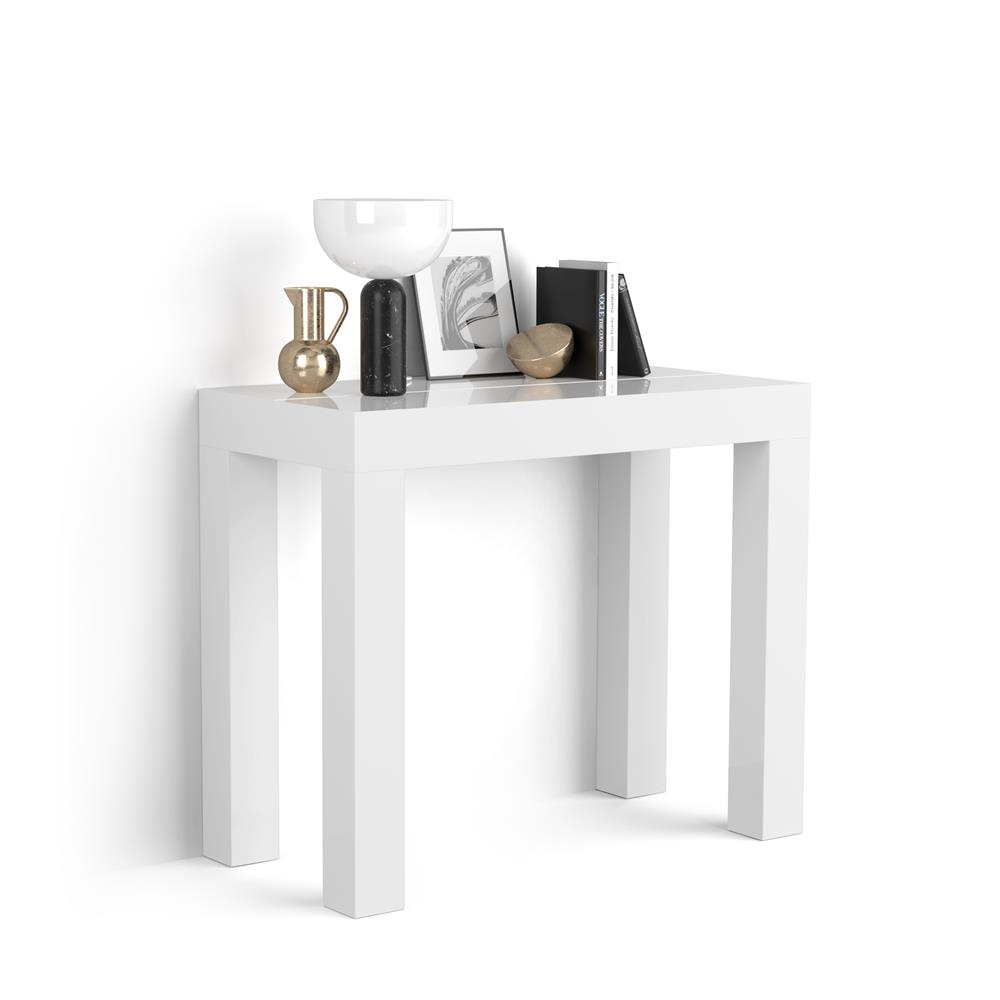 table console extensible first blanc laque brillant