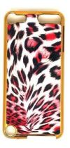 GOLD CHEETAH RED SNAP ON IPOD 5-6