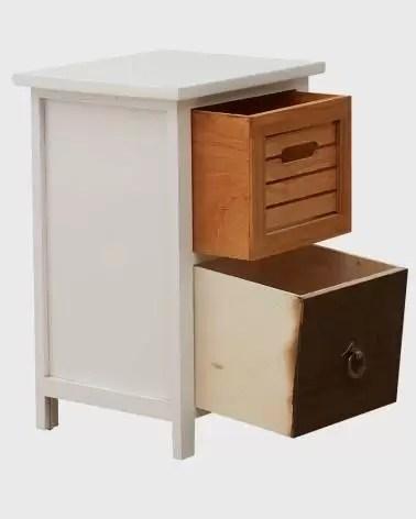 table de chevet vintage urbaine avec deux tiroirs