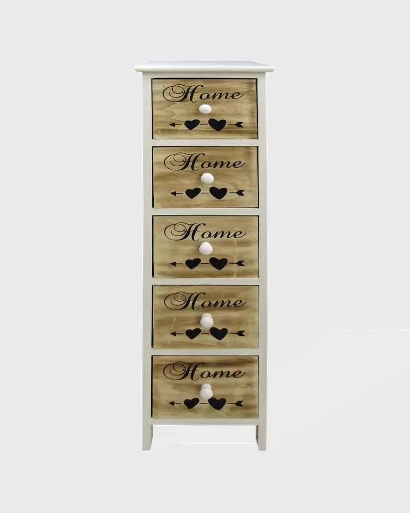 chiffonnier avec 5 tiroirs en bois avec ecriture decorative