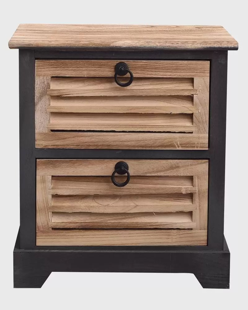 small black and brown industrial bedside table with 2 drawers
