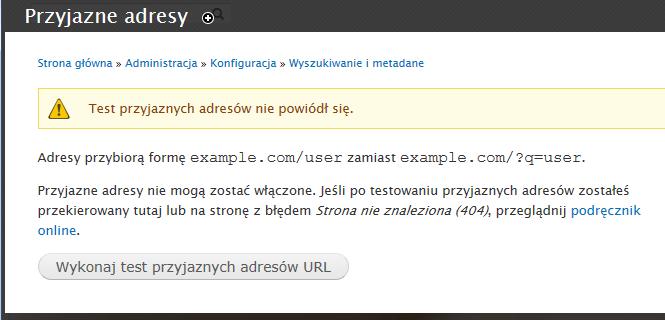 Błąd podczas włączania Clean URL