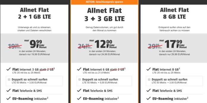 Klarmobil Contrato de tel/éfono m/óvil D-Netz Allnet Flat 3 24 Meses de duraci/ón itinerancia de la UE Internet Plano telefon/ía y SMS en Todas Las Redes alemanas 1 GB