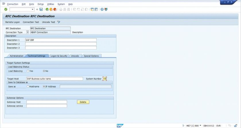 SAP Fiori Configuration Guide - RFC Destination Screen