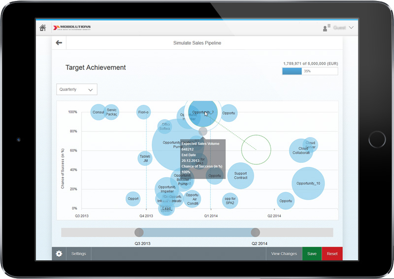 SAP Fiori - Simulate Sales Pipeline App Screen
