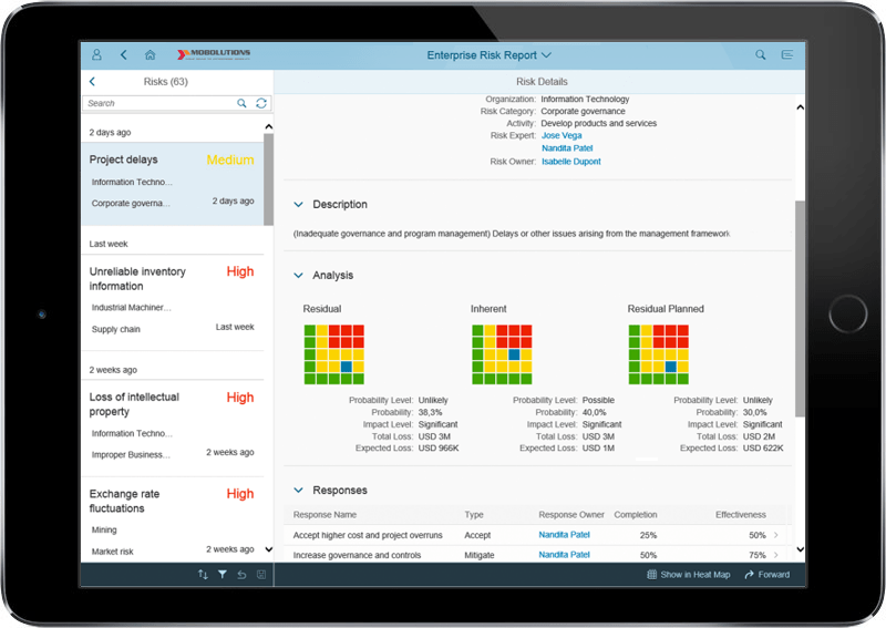 Fiori Enterprise Risk Report App | Fiori GRC App