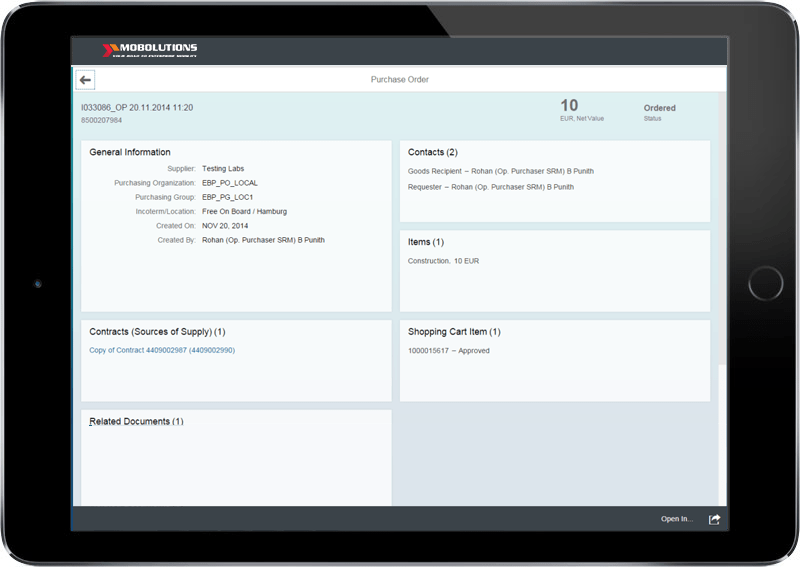 Fiori Purchase Order SRM App Screen | Fiori SRM App