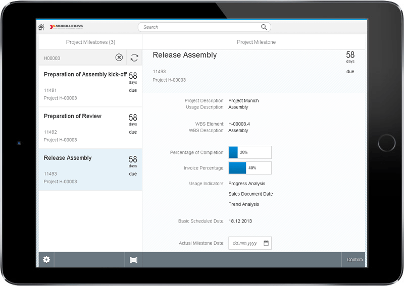 SAP Fiori Confirm Project Milestone App Screen | SAP Fiori PS App