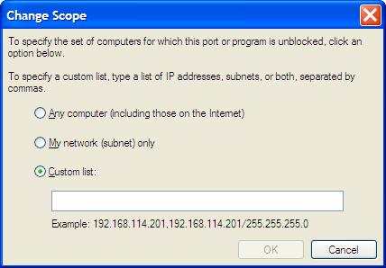 Windows Firewall IP address edit screen