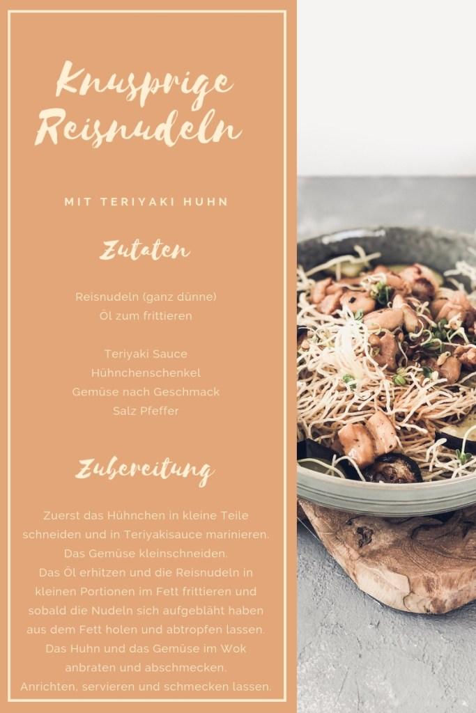 Rezept für Knusprige Reisnudeln mit Teriyaki Huhn