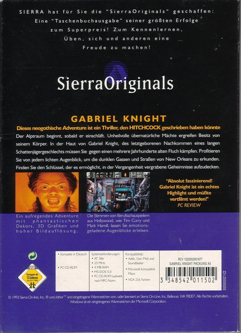 Gabriel Knight Sins Of The Fathers 1993 DOS Box Cover