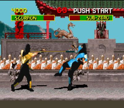 Mortal Kombat SNES The classical Scorpion's harpoon.