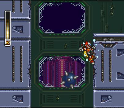Mega Man X3 SNES Zero climbing a wall.
