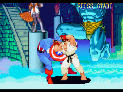 Marvel vs. Capcom: Clash of Super Heroes PlayStation Ryu strikes back Captain America using one of his grabbing attacks successfully.