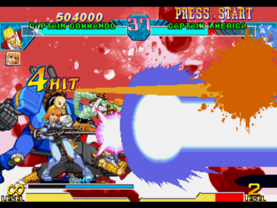 Marvel vs. Capcom: Clash of Super Heroes PlayStation Through a Variable Cross, Captain Commando and Saki begins a new offensive against Captain America!