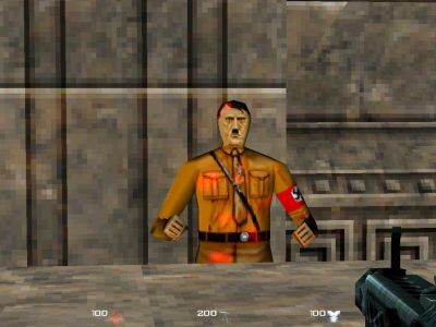 Mortyr: 2093-1944 Windows In one level, you encounter Adolf Hitler. You can shoot him, but he always stands up again.