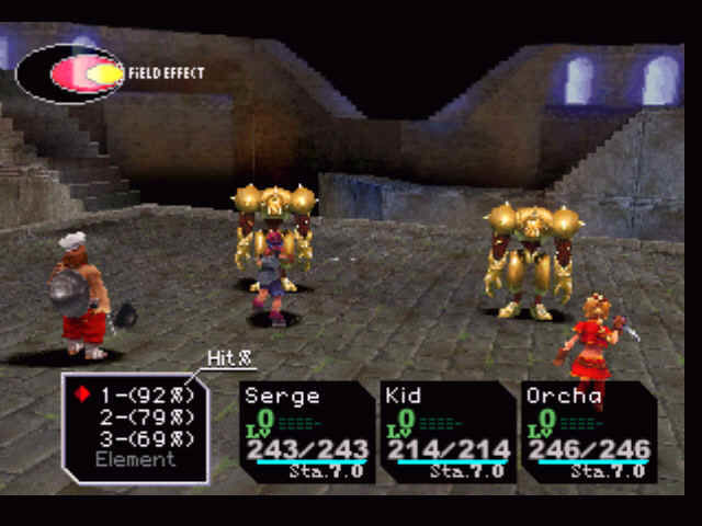 Chrono Cross PlayStation Cool feature: choosing different attacks with different hit percentage