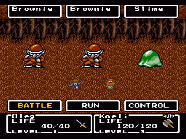 Final Fantasy: Mystic Quest SNES Fighting some brownies and slimes