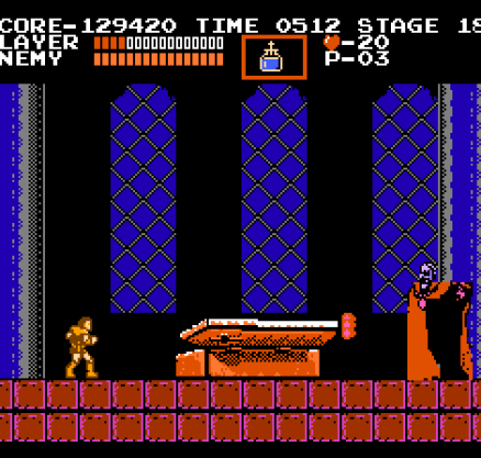 Castlevania NES Dracula teleports around the room to confuse me, and shoots fireballs.