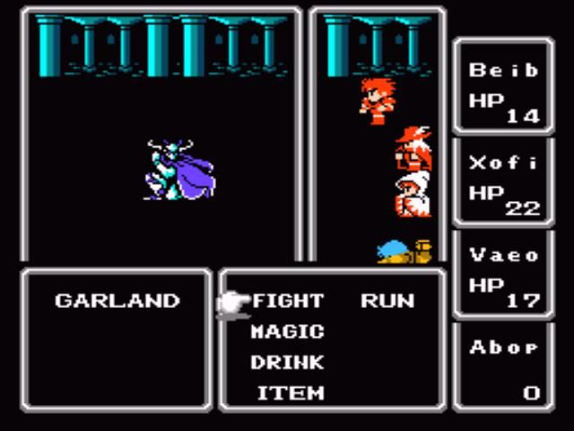 "Final Fantasy NES Boss battle against Garland. ""Final Fantasy IX"", anyone?"
