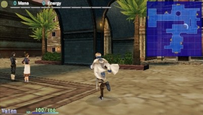 Dragoneer's Aria PSP You can freely explore locations by walking around in them. A map (top right-hand corner) helps you find the way.