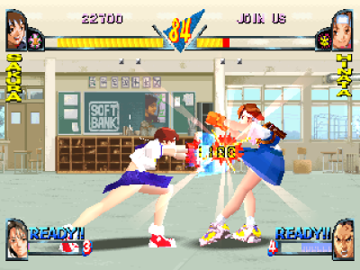 Rival Schools PlayStation Sakura Kasugano from Street Fighter series? Yes! You can choose her without cheats, an unseen character in arcade version