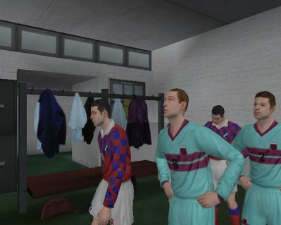 World Tour Soccer 2003 PlayStation 2 UK Retail game<br>This shows the players in the dressing room as they head out for the match. These are amateur teams and look it. They look 'right' and move well