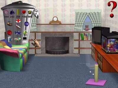 3D Pets: Splat! The Cat Windows The TV room. The TV can be turned on and the fire can be lit. The bin shows cat stats on the top row, six location icons at the bottom while in the middle are three toys/treats. The red cross heals.
