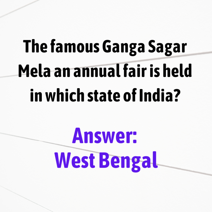 The famous Ganga Sagar Mela an annual fair is held in which state of India?