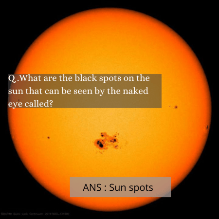 Q .What are the black spots on the sun that can be seen by the naked eye called?