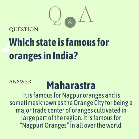 Which state is famous for oranges in India?