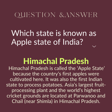 Which state is known as Apple state of India?