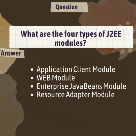 What are the four types of J2EE modules?