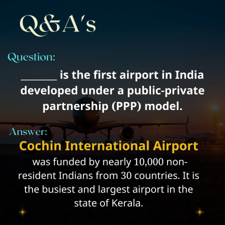 _______ is the first airport in India developed under a public-private partnership (PPP) model.