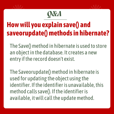 How will you explain save() and saveorupdate() methods in hibernate?