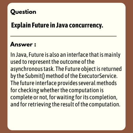Explain Future in Java concurrency.