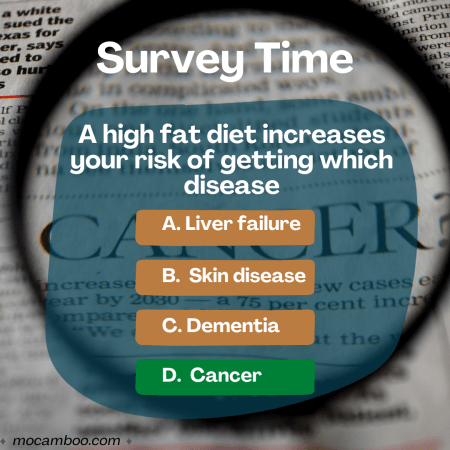 Q. A high fat diet increases your risk of getting which disease Ans. Cancer