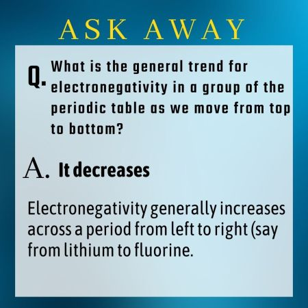 What is the general trend for electronegativity in a group of the periodic table as we move from ...