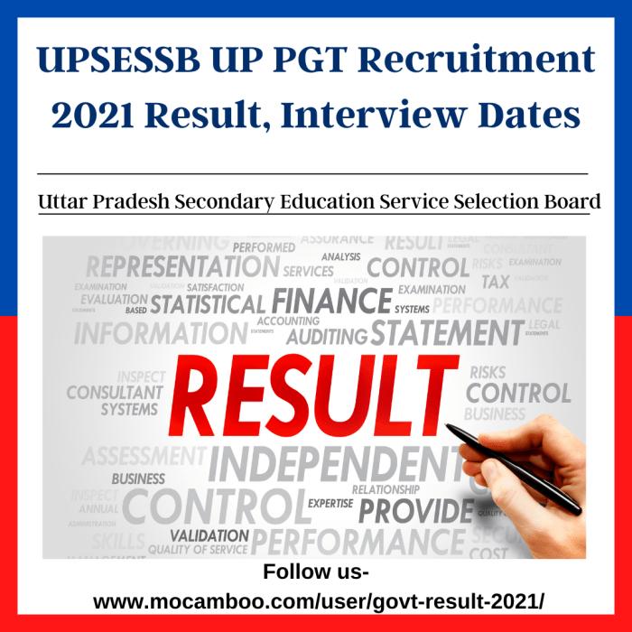 UPSESSB UP PGT Recruitment 2021 Result, Interview Dates