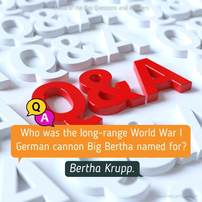 Who was the long-range World War I German cannon Big Bertha named for?