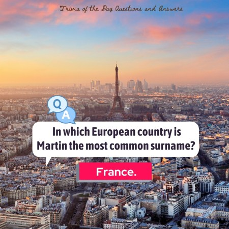 In which European country is Martin the most common surname?