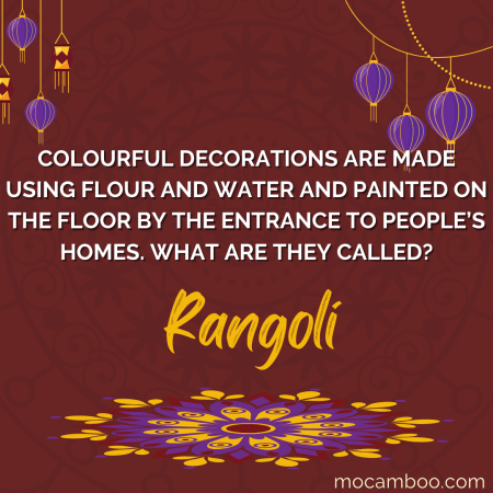 Colorful decorations are made using flour and water and painted on the floor by the entrance to  ...