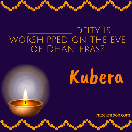 __________ deity is worshipped on the eve of Dhanteras?