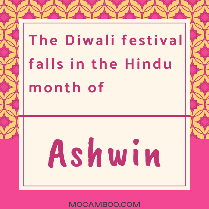 The Diwali festival falls in the Hindu month of