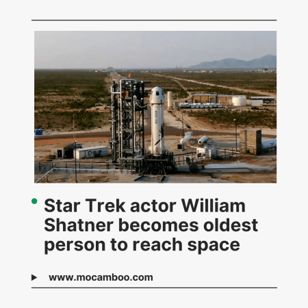 Star Trek actor William Shatner becomes oldest person to reach space