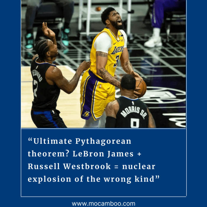 """""""Ultimate Pythagorean theorem? LeBron James + Russell Westbrook = nuclear explosion of the wrong ..."""
